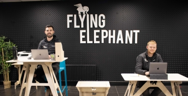 An Irish Flying Elephant takes off against the wind and all the odds…
