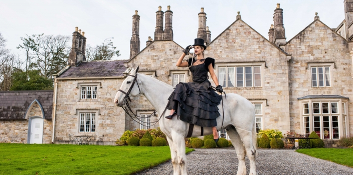 Vogue Williams cuts a dash on horseback to launch Catriona Hanly's Lough Rynn Tweeds